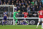 Jesse Lingard Midfielder of Manchester United shoots at goal during the UEFA Europa League Quarter-final, Game 1 match between Anderlecht and Manchester United at Constant Vanden Stock Stadium, Anderlecht, Belgium on 13 April 2017. Photo by Phil Duncan.