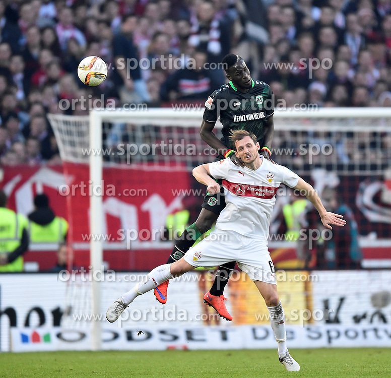 27.02.2016, Mercedes Benz Arena, Stuttgart, GER, 1. FBL, VfB Stuttgart vs Hannover 96, 23. Runde, im Bild Salif Sane Hannover 96 gegen Georg Niedermeier VfB Stuttgart // during the German Bundesliga 23th round match between VfB Stuttgart and Hannover 96 at the Mercedes Benz Arena in Stuttgart, Germany on 2016/02/27. EXPA Pictures &copy; 2016, PhotoCredit: EXPA/ Eibner-Pressefoto/ Weber<br /> <br /> *****ATTENTION - OUT of GER*****