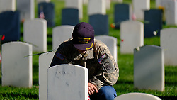 May 27, 2019 - Los Angeles, California, U.S. - CHARLES KOFFMAN of Los Angeles pays respect to his father during an observance for Memorial Day at the Los Angeles National Cemetery. Californians are paying their respects on Memorial Day to those who have died serving their country. (Credit Image: © Jason Ryan/ZUMA Wire).