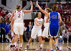December 15, 2009; Stanford, CA, USA;  Stanford Cardinal forward Kayla Pedersen (14) and guard Jeanette Pohlen (23) and forward/center Jayne Appel (2) celebrate during the second half against the Duke Blue Devils at Maples Pavilion.  Stanford defeated Duke 71-55.