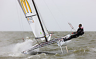 08_004291 © Sander van der Borch. Medemblik - The Netherlands,  May 25th 2008 . Sebbe Godefroid and Carolijn Brouwer sailing just after the finish of the medal race of the Delta Lloyd Regatta 2008.