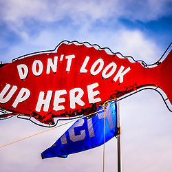 "Photo of The Crab Cooker restaurant ""Don't Look Up Here"" fish sign in Newport Beach California.  The Crab Cooker is a very popular local seafood restaurant known for its bright red exterior. The Crab Cooker is located at 2200 Newport Blvd., Newport Beach CA 92663"