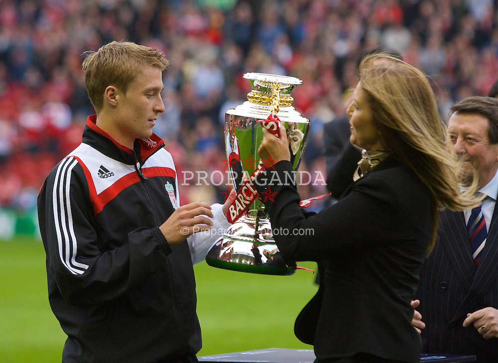 LIVERPOOL, ENGLAND - Sunday, May 4, 2008: Liverpool's reserve team captain Stephen Darby with the Northern Championship trophy at Anfield. (Photo by David Rawcliffe/Propaganda)