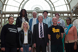 © under license to London News Pictures. 25/06/12. London, UK. Organisers of Streetwise Opera join chief executive Tony Hall,centre, at the RoyaL Opera House, back  left, Angel Masiala, Don Robinson, Bryan Morryson, Samantha Ashleigh Hayhurst. .Front left, Beatriz Pinto, Tiyonne Whittaker, Tony Hall, Dave Cooke and Martine Carter..Streetwise Opera is co-ordinating a one-night special event tonight at the Royal Opera House to showcase the skills of 300  performers from around the U.K who have experienced homelessness. ..ALEX CHRISTOFIDES/LNP