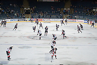 KELOWNA, CANADA - DECEMBER 5: The Kelowna Rockets and the Prince George Cougars warm up on December 5, 2014 at Prospera Place in Kelowna, British Columbia, Canada.  (Photo by Marissa Baecker/Shoot the Breeze)  *** Local Caption ***