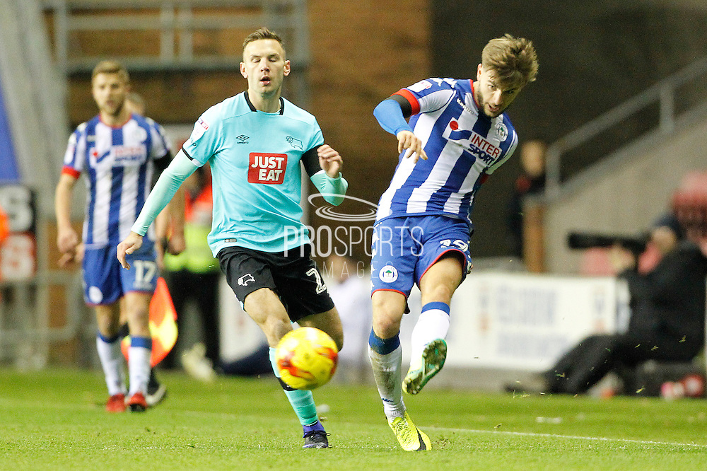 Wigan's Luke Garbutt (19) during the EFL Sky Bet Championship match between Wigan Athletic and Derby County at the DW Stadium, Wigan, England on 3 December 2016. Photo by Craig Galloway.