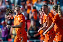 01-06-2019 NED: Netherlands - Australia, Eindhoven<br /> <br /> Friendly match in Philips stadion Eindhoven. Netherlands win 3-0 / Vivianne Miedema #9 of The Netherlands score 2-0, Lieke Martens #11 of The Netherlands, Merel van Dongen #4 of The Netherlands, Shanice van de Sanden #7 of The Netherlands, Stefanie van der Gragt #3 of The Netherlands, Sherida Spitse #16 of The Netherlands, Dominique Bloodworth Janssen #20 of The Netherlands