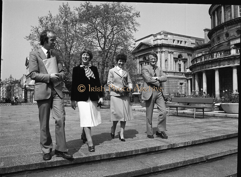 Pro-life Amendment Deputation.    (N75)..1981..12.05.1981..05.12.1981..12th May 1981..A deputation from the Pro-life Amendment Campaign arrived at Leinster House,Dublin to meet with the leader of the Labour Party,Mr Frank Cluskey TD. they were there to put forward their views on the forthcoming referendum...Picture shows the group arriving at Dáil Éireann, Leinster House, Dublin. (L-R), Mr Denis Barror, Miss Loretto Browne, Dr Julia Vaughan, Chairperson, Pro-life Anendment Campaign and Prof David Jenkins, U.C.C.