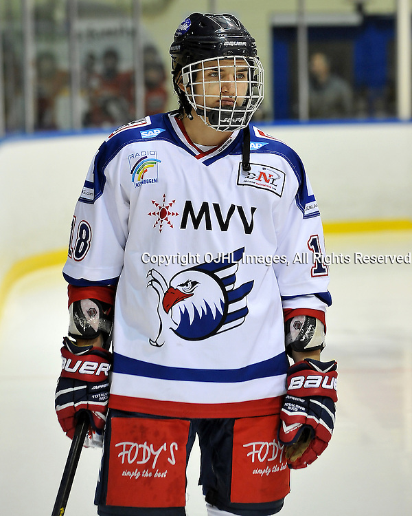 WHITBY, ON - Nov 27: Ontario Junior Hockey League International Exhibition between Whitby Fury and the visiting Adler Mannheim from Germany. Yannis Walch #18 of Team Germany during the pre-game ceremony.<br /> (Photo by Shawn Muir / OJHL Images)