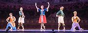 Dance phenomenon Les Ballet Trockedero de Monte Carlo is the award-winning, all-male, comedy ballet company hailing from New York. <br /> <br /> La Trovatiara Pas de Cinq, choreographed by Peter Anastos and featuring, Jack Furlong, Jr,  Robert Vega , Joshua Thake,  Alberto Pretto, &amp; Kevin Garcia. <br /> Peacock Theatre London.<br /> <br /> &copy; Tony Nandi 2018