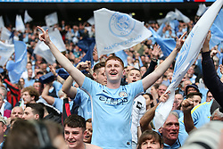 A Manchester City fan celebrates at the final whistle  - Mandatory by-line: Arron Gent/JMP - 18/05/2019 - FOOTBALL - Wembley Stadium - London, England - Manchester City v Watford - Emirates FA Cup Final