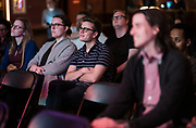 """Audience members share a laugh during the live taping of the """"Madsplainers"""" Podcast at High Noon Saloon in Madison, WI on Tuesday, April 9, 2019."""