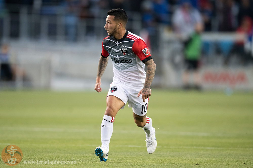 May 19, 2018; San Jose, CA, USA; D.C. United midfielder Luciano Acosta (10) during the first half against the San Jose Earthquakes at Avaya Stadium.