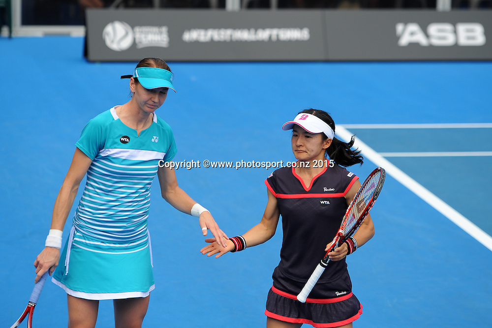 L-R Czech player Renata Voracova and Shuko Aoyama from Japan during their Doubles Semi Finals match of the ASB Classic Women's International. ASB Tennis Centre, Auckland, New Zealand. Friday 9 January 2015. Copyright photo: Chris Symes/www.photosport.co.nz