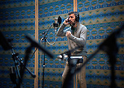 em122216e/jnorth/Tiho Dimitrov records a song at The Kitchen Sink recording studio in Santa Fe, Thursday December 22, 2016.  (Eddie Moore/Albuquerque Journal)
