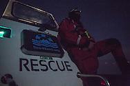 Tsonia, Lesvos, Greece - 28.02.2016 <br /> <br /> Night shift of the lifeboat team of the German NGO Sea Watch. The rescue crew patrol between the Greek island of Lesvos and Turkey to assist distressed refugee boats .<br /> <br /> Nachtschicht des Rettungsboot Teams der deutschen NGO Sea-Watch. Die Rettungskr&auml;fte patrouillieren zwischen Lesbos und der Tuerkei um in Not geratene Fluechtlingsboote zu unterstuetzen. <br /> <br /> Foto: Bjoern Kietzmann