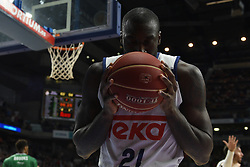 May 31, 2017 - Madrid, Madrid, Spain - Othello Hunter, #21 of Real Madrid kisses the ball during the first game of the semifinals of basketball Endesa league between Real Madrid and Unicaja de Málaga. (Credit Image: © Jorge Sanz/Pacific Press via ZUMA Wire)