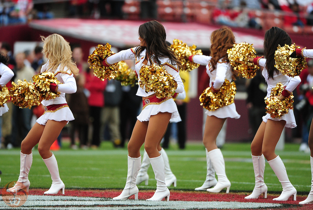 October 11, 2009; San Francisco, CA, USA; San Francisco 49ers Gold Rush cheerleaders perform before the game against the Atlanta Falcons at Candlestick Park. The Falcons defeated the 49ers 45-10. Mandatory Credit: Kyle Terada-Terada Photo