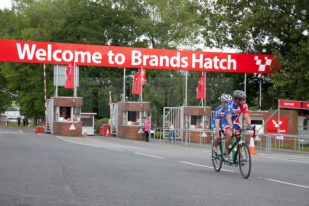 © Licensed to London News Pictures. 19/06/12. Brands Hatch, Kent. GB Paralympic cyclists train at Brands Hatch, Kent. Up to 150 international athletes come to train at the race circuit at Brands Hatch in Kent for the Paralympic Road Cycling competition taking place on 5-8 September 2012. Picture credit should read Manu Palomeque/LNP