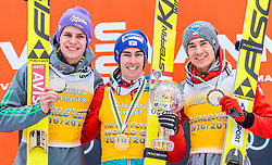 26.03.2017, Planica, Ratece, SLO, FIS Weltcup Ski Sprung, Planica, Siegerehrung, im Bild Andreas Wellinger (GER, 2. Platz), Gesamtweltcup- und Skiflug Weltcup Sieger Stefan Kraft (AUT), Kamil Stoch (POL, 3. Platz) // 2nd placed Andreas Wellinger of Germany Overall World Cup and Ski Flying World Cup winner Stefan Kraft of Austria 3rd placed Kamil Stoch of Poland during the Winner Award Ceremony of the FIS Ski Jumping World Cup Final 2017 at Planica in Ratece, Slovenia on 2017/03/26. EXPA Pictures © 2017, PhotoCredit: EXPA/ JFK