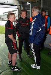 ALTACH, AUSTRIA - Saturday, July 17, 2010: Liverpool's manager Roy Hodgson and assistant manager Sammy Lee chat with Al-Hilal Al Saudi FC manager Eric Gerets before the Reds' first preseason match of the 2010/2011 season at the Cashpoint Arena. (Pic by David Rawcliffe/Propaganda)