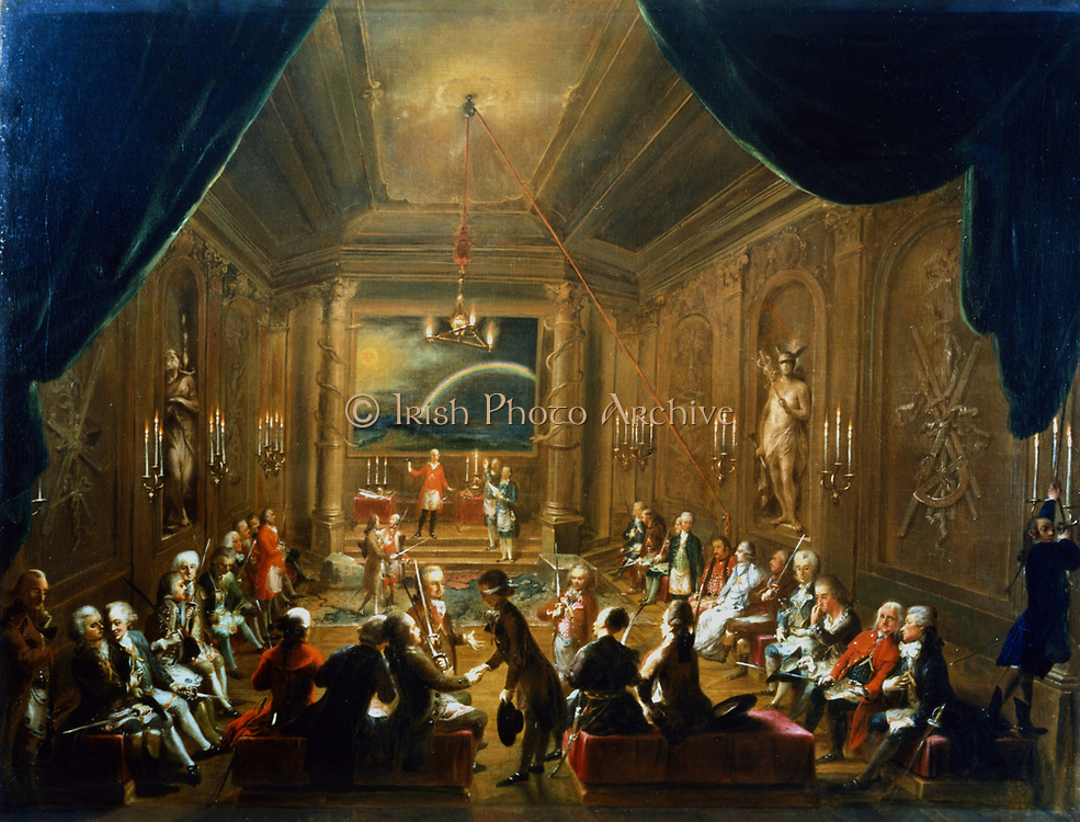 Meeting of the Masonic Lodge, Vienna'. Anonymous, 1790. This was the lodge to which Wolfgang Amadeus Mozart (1756-1791)belonged.