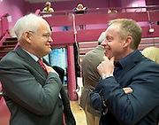 Cllr Peter Feeney and Ciaran Cannon TD at the  Count Centre at Leisureland where City County and European votes where separated Photo: andrew downes