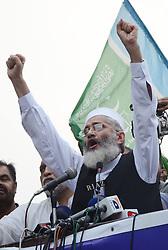 July 31, 2017 - Lahore, Punjab, Pakistan - Senator SIRAJUL HAQ, leader of Jamaat-e-Islami Pakistan addressing to (Azam-e-Ehtsab March) a public gathering at Mall Road in Lahore. (Credit Image: © Rana Sajid Hussain/Pacific Press via ZUMA Wire)