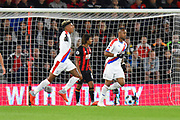 Goal - Patrick van Aanholt (3) of Crystal Palace celebrates scoring the equalising goal to make the score 1-1 during the Premier League match between Bournemouth and Crystal Palace at the Vitality Stadium, Bournemouth, England on 1 October 2018.