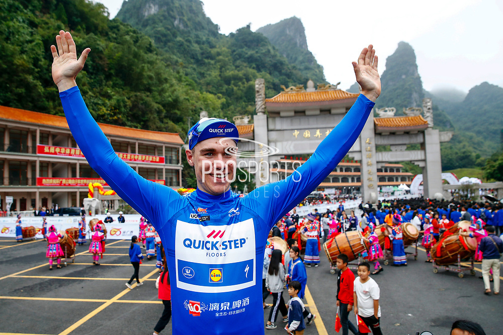 Fabio Jakobsen (NED - QuickStep - Floors) blue leader jersey during the Tour of Guangxi 2018, stage 4 cycling race, Nanning - Nongla Scenic Area (152,2 km) on October 19, 2018 in Nongla, China - Photo Luca Bettini / BettiniPhoto / ProSportsImages / DPPI