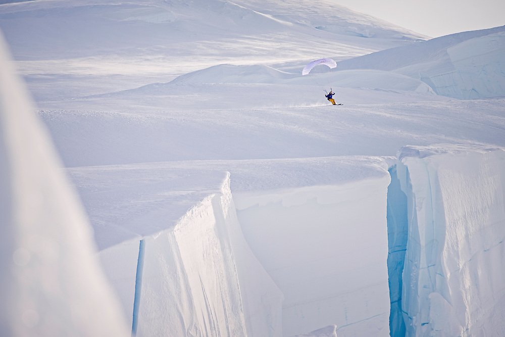 Andy Farington speed rides while filming for the Unrideables in the Tordrillo Mountains near Anchorage, Alaska on April 29th, 2014.