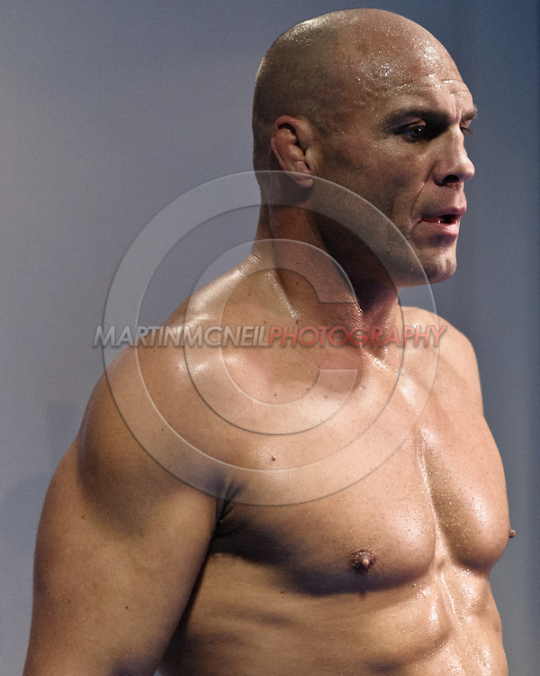 MANCHESTER, ENGLAND, NOVEMBER 11, 2009: Randy Couture relaxes after the open work-outs for UFC 105 at the Crowne Plaza Hotel in Manchester, England on November 11, 2009.