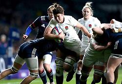Sarah Hunter (c) of England powers her way through the French defence - Mandatory by-line: Robbie Stephenson/JMP - 04/02/2017 - RUGBY - Twickenham - London, England - England v France - Women's Six Nations