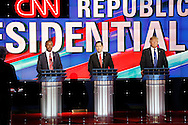 US Republican Presidential Candidates from left to right, Ben Carson , Marco Rubio  and  Donald Trump during the Republican Presidential Debate at the University of Houston in Houston, Texas on February 25, 2016.