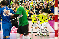 Inter FS's players celebrating a goal during UEFA Futsal Cup 2015/2016 Final match. April 22,2016. (ALTERPHOTOS/Acero)