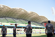 MELBOURNE, VICTORIA - JANUARY 06: Newcastle Jets warm up at the Hyundai A-League Round 11 soccer match between Melbourne City FC and Newcastle Jets on at AAMI Park in NSW, Australia 06 January 2019. (Photo by Speed Media/Icon Sportswire)