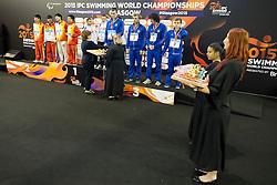 Medal Ceremony CHN, RUS, UKR at 2015 IPC Swimming World Championships -  Men's 4x100m Medley Relay 34PTS