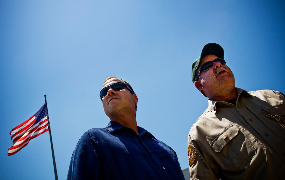Greyhound trip..Jeff Schwilk (left) is the founder of San Diego Minutemen..Photographer: Chris Maluszynski /MOMENT