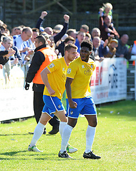 Bristol Rovers' Ellis Harrison celebrates with Bristol Rovers' Lee Brown after scoring - Photo mandatory by-line: Neil Brookman/JMP - Mobile: 07966 386802 - 18/04/2015 - SPORT - Football - Dover - Crabble Athletic Ground - Dover Athletic v Bristol Rovers - Vanarama Football Conference