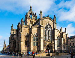 View of  St Giles Cathedral on the Royal Mile in Edinburgh Old Town, Scotland, UK