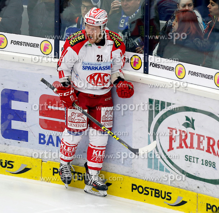 15.01.2016, Stadthalle, Villach, AUT, EBEL, EC VSV vs EC KAC, 43. Runde, im Bild der Jubel von Manuel Geier (KAC) // during the Erste Bank Icehockey League 43th round match between EC VSV vs EC KAC at the City Hall in Villach, Austria on 2016/01/15, EXPA Pictures © 2016, PhotoCredit: EXPA/ Oskar Hoeher