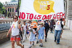 London, UK. 5 July, 2019. Hundreds of parents and children march with the Save Our Schools campaign group from Parliament Square to Downing Street in protest against schools being forced to close early on Fridays due to funding cuts and to highlight the government's responsibility to care for and educate the nation's children on Friday afternoons.