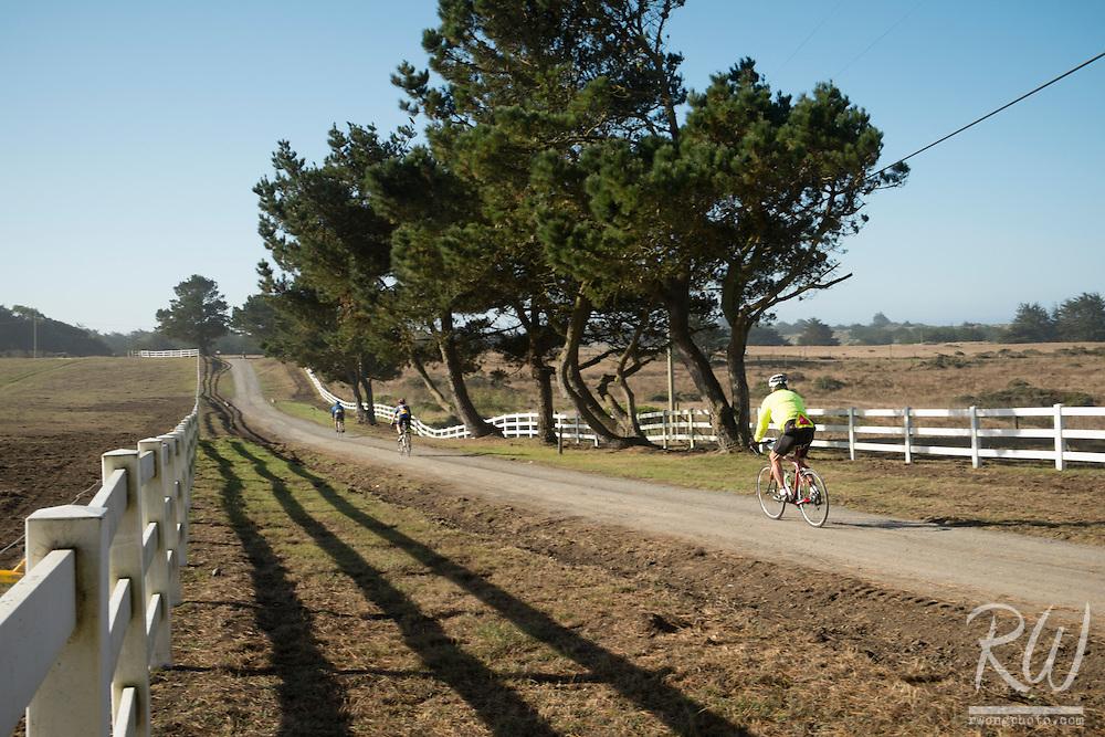 Backroads Bikers Leaving Chanslor Ranch, Bodega Bay, California