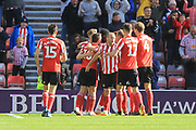 GOAL Josh Maja is congratulated after scoring 3-0 during the EFL Sky Bet League 1 match between Sunderland and Rochdale at the Stadium Of Light, Sunderland, England on 22 September 2018.