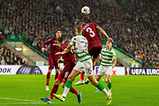 Andrei Burca headers the ball clear during the Europa League match between Celtic and CFR Cluj at Celtic Park, Glasgow, Scotland on 3 October 2019.