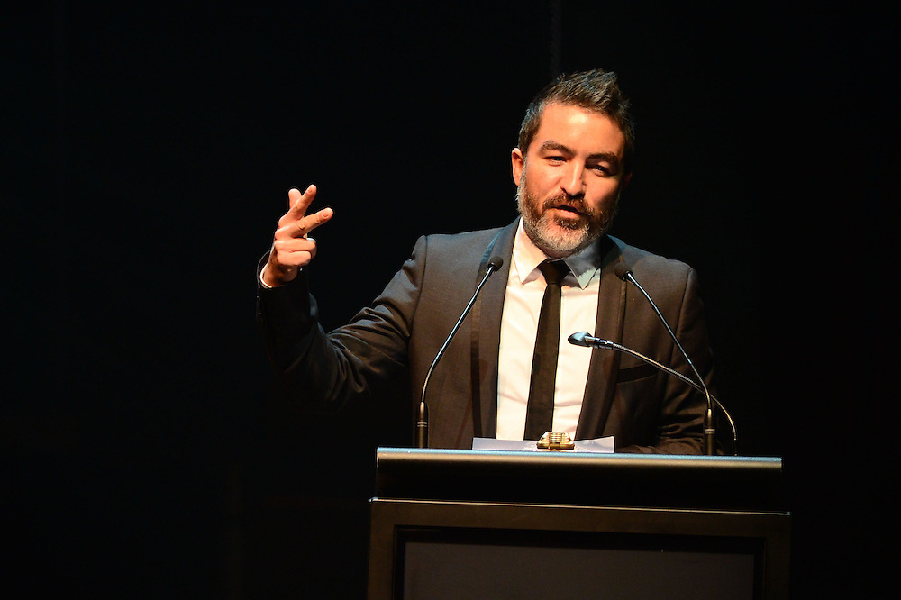 Dai Henwood on stage at the APRA Silver Scrolls Awards 2012. Auckland Town Hall. 13 September 2012.