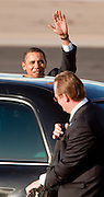 17 FEBRUARY 2009 -- President Barack Obama waves before getting into his limo and leaving the airport during the arrival of President Barack Obama at Sky Harbor Airport Tuesday.     PHOTO BY JACK KURTZ