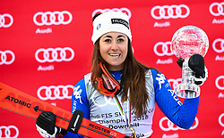 14.03.2018, Aare, SWE, FIS Weltcup Ski Alpin, Finale, Aare, Abfahrt Weltcup, Siegerehrung, im Bild Sofia Goggia (ITA, 2.Platz Weltcupsieger in Abfahrt)Lindsey Vonn (USA, Siegerin und Platz 2 Weltcup Abfahrt)Alice Mckennis (USA) // Sofia Goggia of Italy winner of the Downhill Worldcup during the winner Ceremony for the downhill Worlcup of FIS Ski Alpine World Cup finals in Aare, Sweden on 2018/03/14. EXPA Pictures © 2018, PhotoCredit: EXPA/ Erich Spiess