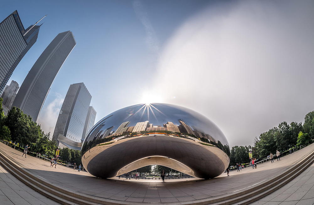 Downtown Chicago, 'Cloud Gate' sculpture, commonly known as The Bean. (Photo by Matt Cashore)
