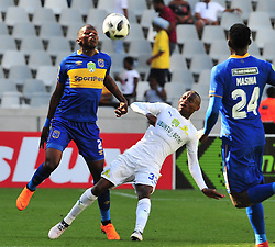 Cape Town--180401  Mamelodi Sundowns striker Khama Billiat challenged by Thamsanqa Mkhize of Cape Town City during the Nedbank Cup quarter final game at the Cape Town Stadium.Sundowns won the game 2-1 and will play maritzburg in the Semi-final  .Photographer;Phando Jikelo/African News Agency/ANA